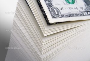 Abstract fanning Large Stack of One Dollar Bills